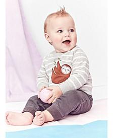 Baby Boys 3-Pc. Cotton Sloth Top, Printed Bodysuit & Pants Set