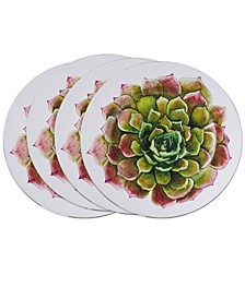 Dinner Plate Chargers with Two-Tone Succulent Flower Design Set of 4