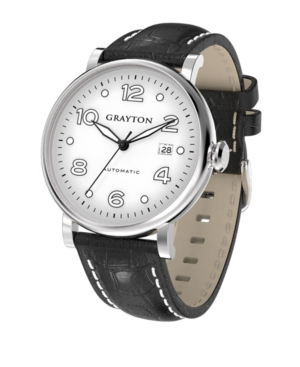 Men's Classic Collection Black Crocodile-Embossed Leather Strap Watch 44mm