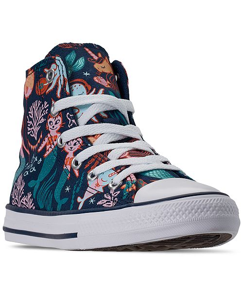 Converse Little Girls Chuck Taylor All Star Underwater Party High Top Casual Sneakers from Finish Line