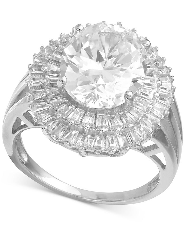 Macy's - Cubic Zirconia Baguette Halo Statement Ring in Sterling Silver or 18K Gold over Silver