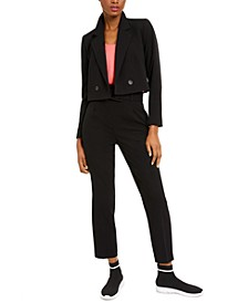 Cropped Double-Breasted Blazer, Camisole Top And  Belted Pants, Created for Macy's