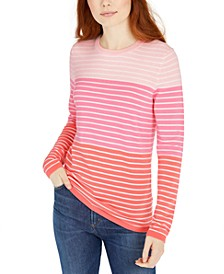 Colorblocked Striped Cotton Top