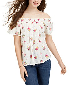 Juniors' Floral-Printed Smocked Off-The-Shoulder Top