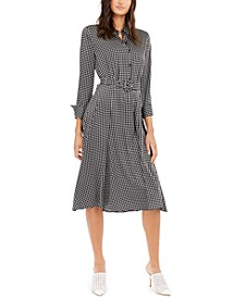 Printed Belted Fit & Flare Dress, Created For Macy's