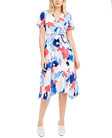 Printed Asymmetrical Wrap Dress, Created For Macy's