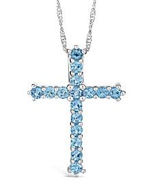 Swiss Blue Topaz (2-3/8 ct. t.w.) Cross Pendant Necklace in Sterling Silver