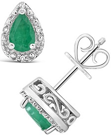 Emerald (3/4 ct. t.w.) and Diamond Accent Stud Earrings in Sterling Silver