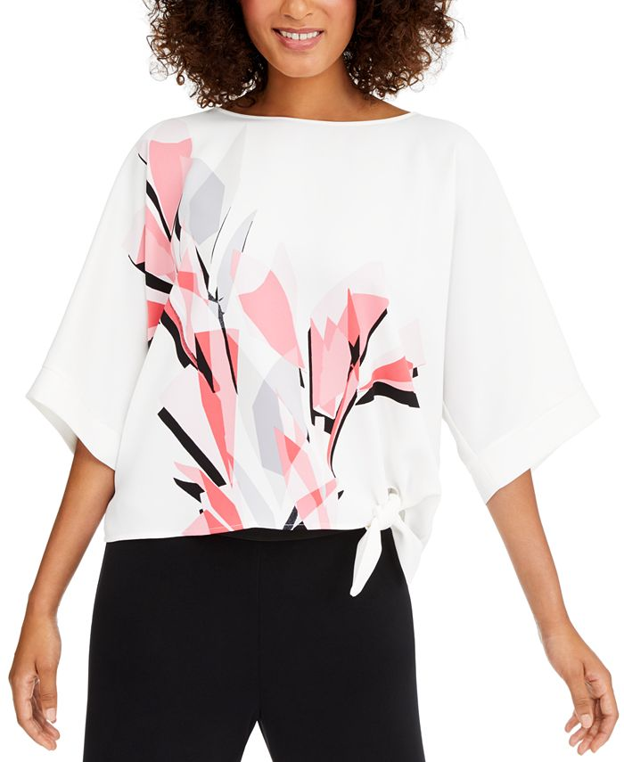 Alfani - Petite Printed Side-Tie Top