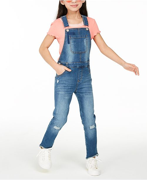 Epic Threads Big Girls Denim Overalls, Created for Macy's