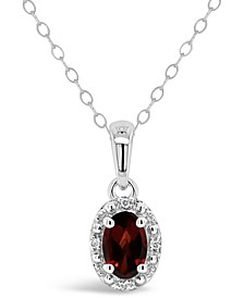 Garnet (1/2 ct. t.w.) and Diamond Accent Pendant Necklace in Sterling Silver (Also Available in Other Gemstones)