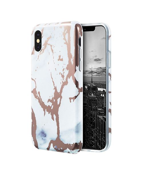 Insten Marble Rose Gold Design IMD Phone Case for Apple iPhone X