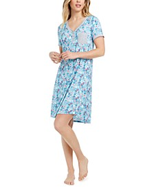 Printed Henley Sleep T-Shirt Nightgown