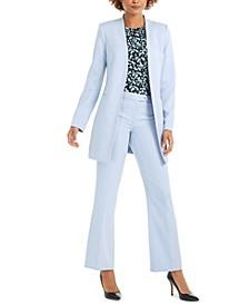 Open-Front Topper, Floral-Print Pleat-Neck Top & Modern-Fit Pants