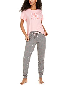 Ruffle-Sleeve Sleep Shirt and Printed Jogger Pajama Pants, Created for Macy's