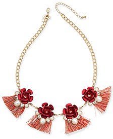 """Two-Tone Crystal & Imitation Pearl Rosette Fringe Statement Necklace, 18-1/2"""" + 3"""" extender, Created for Macy's"""