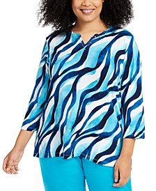 Plus Size Easy Street Printed Embellished Top