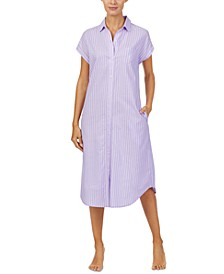 Striped Ballet-Length Sleep Shirt Nightgown