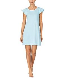 로렌 랄프로렌 나이트가운 Lauren Ralph Lauren Flutter-Sleeve Lace-Neck Nightgown,Blue Stripe