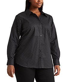 Plus-Size Easy Care Polka-Dot Shirt