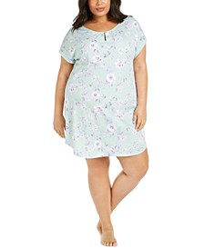 Plus Size Cotton Floral-Print Sleep Shirt, Created for Macy's