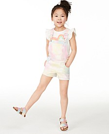 Little Girls Rainbow Tie-Dye Shortalls, Created for Macy's