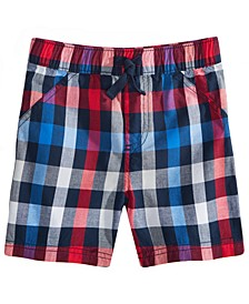 Toddler Boys Red, White & Blue Plaid Cotton Shorts, Created for Macy's