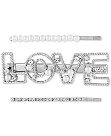 3-Pc. Silver-Tone Pavé & Imitation Pearl Love Bobby Pin Set