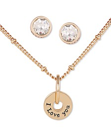 Gold-Tone I Love You Pendant Necklace & Crystal Stud Earrings Set