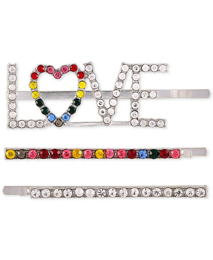 GUESS - Silver-Tone 3-Pc. Set Rainbow Crystal Hair Pins