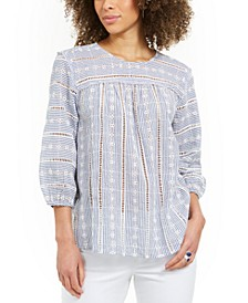Striped Eyelet 3/4-Sleeve Top, Created for Macy's