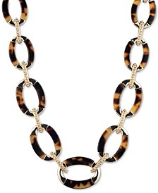 """Gold-Tone & Tortoise-Look Link Collar Necklace, 16"""" + 3"""" extender"""