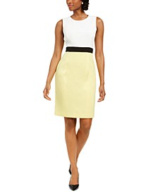 Sleeveless Crepe Colorblocked Sheath Dress