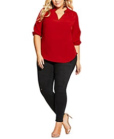 Trendy Plus Size Amore Pleated-Neck Top
