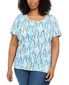 Plus Size Ikat-Print T-Shirt, Created for Macy's