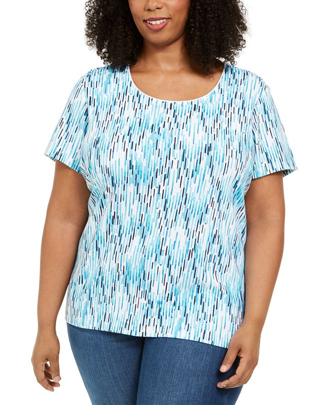 Karen Scott Plus Size Ikat-Print T-Shirt, Created for Macy's