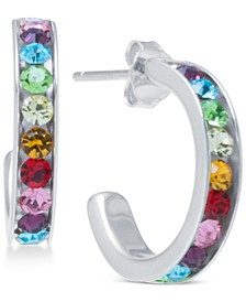 "Rainbow Crystal Small (5/8"") Hoop Earrings in Sterling Silver"