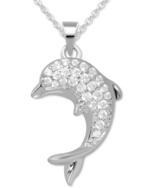 Crystal Accent Dolphin Pendant Necklace in Fine Silver-Plate