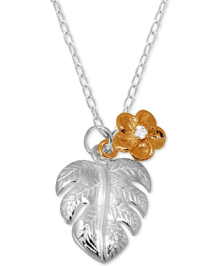 """Kona Bay - Palm Frond & Crystal Accent Flower Pendant Necklace in Fine Silver-Plate & Rose Gold-Plate, 16"""" + 2"""" extender"""