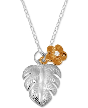 Palm Frond & Crystal Accent Flower Pendant Necklace in Fine Silver-Plate & Rose Gold-Plate