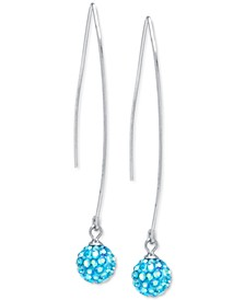 Light Blue Crystal Cluster Threader Earrings in Sterling Silver