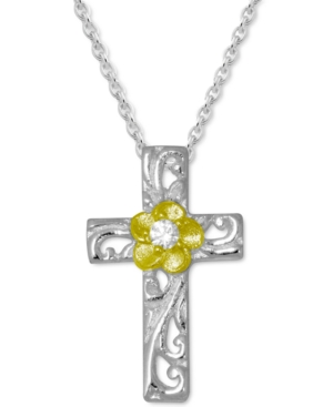Cubic Zirconia Cross & Flower Pendant Necklace in Fine Silver-Plate & Gold-Plate