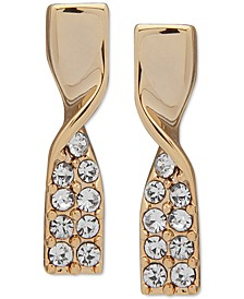 Gold-Tone Pavé Twist Drop Earrings