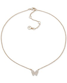 "Pavé Butterfly Pendant Necklace, 16"" + 3"" extender"