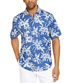 Men's Vintage Hibiscus Classic-Fit Tropical Print Silk Camp Shirt, Created for Macy's