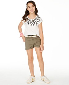 Big Girls Leopard Border T-Shirt & Belted Shorts Separates, Created for Macy's