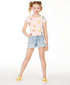 Big Girls Ombré Heart T-Shirt & Button-Fly Cotton Denim Shorts Separates, Created for Macy's