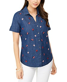 Plus Size Embroidered-Front Collared Shirt, Created for Macy's