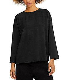 Round-Neck Silk Top, Regular & Petite