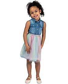 Little Girls Denim & Rainbow Tulle Belted Dress